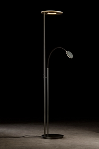HOLTKOET,9908-2-625,LED Torchiere NOVA FLEX Platinum / Black, with two push button dimmer, 6000 + 2000 Lumen, 2700 Kelvin, CRI>90 inkl. 2x LED